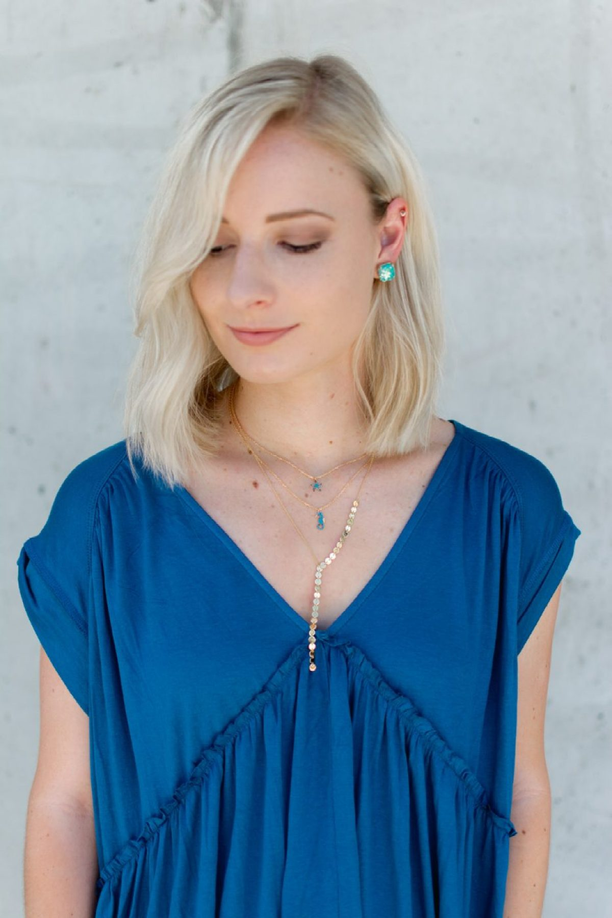 Kate Spade earrings worn with Motif necklaces by Jenny Bess of Sweet Teal