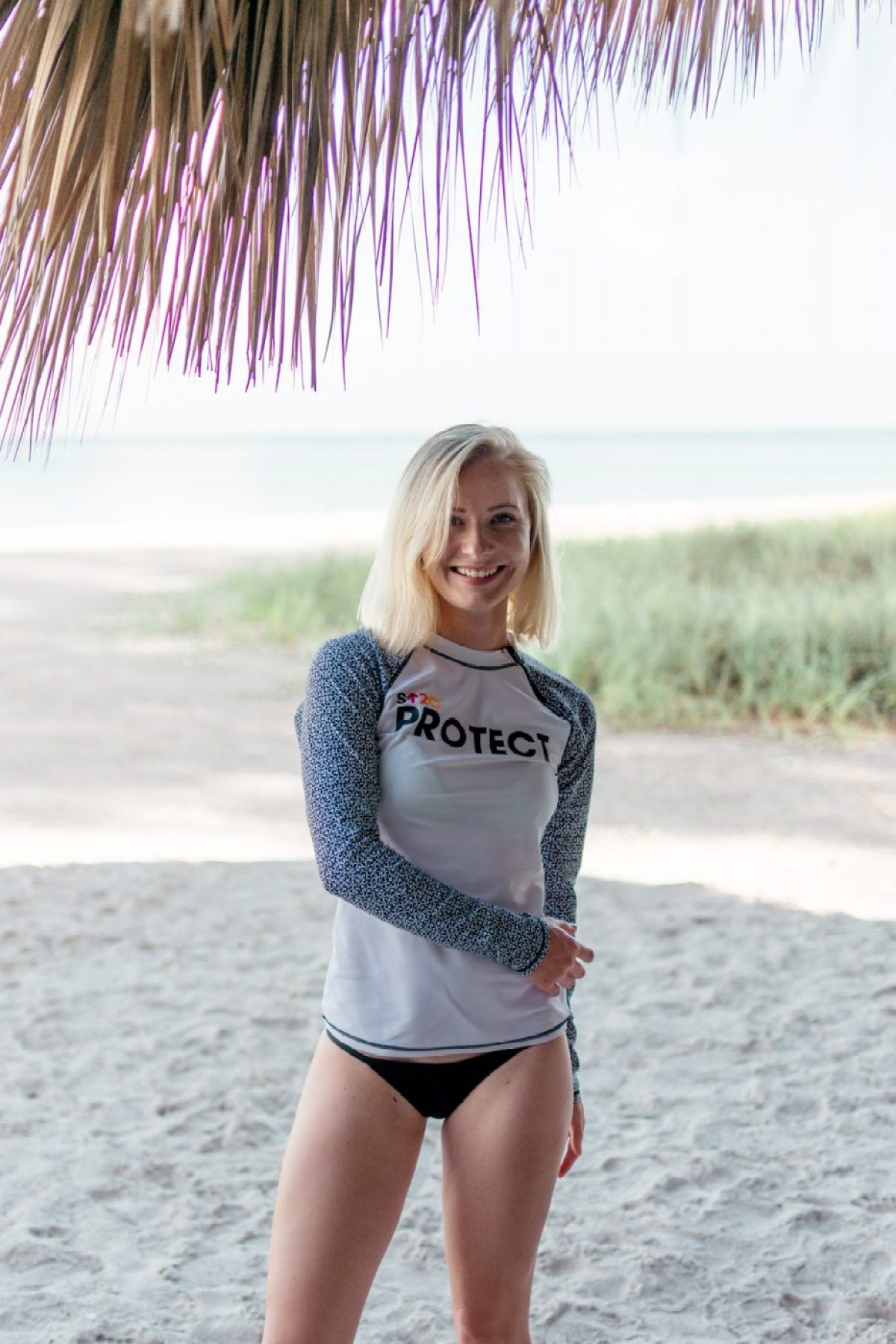 Stand Up 2 Cancer Protect Rashguard from Cabana Life worn by Jenny of Sweet Teal