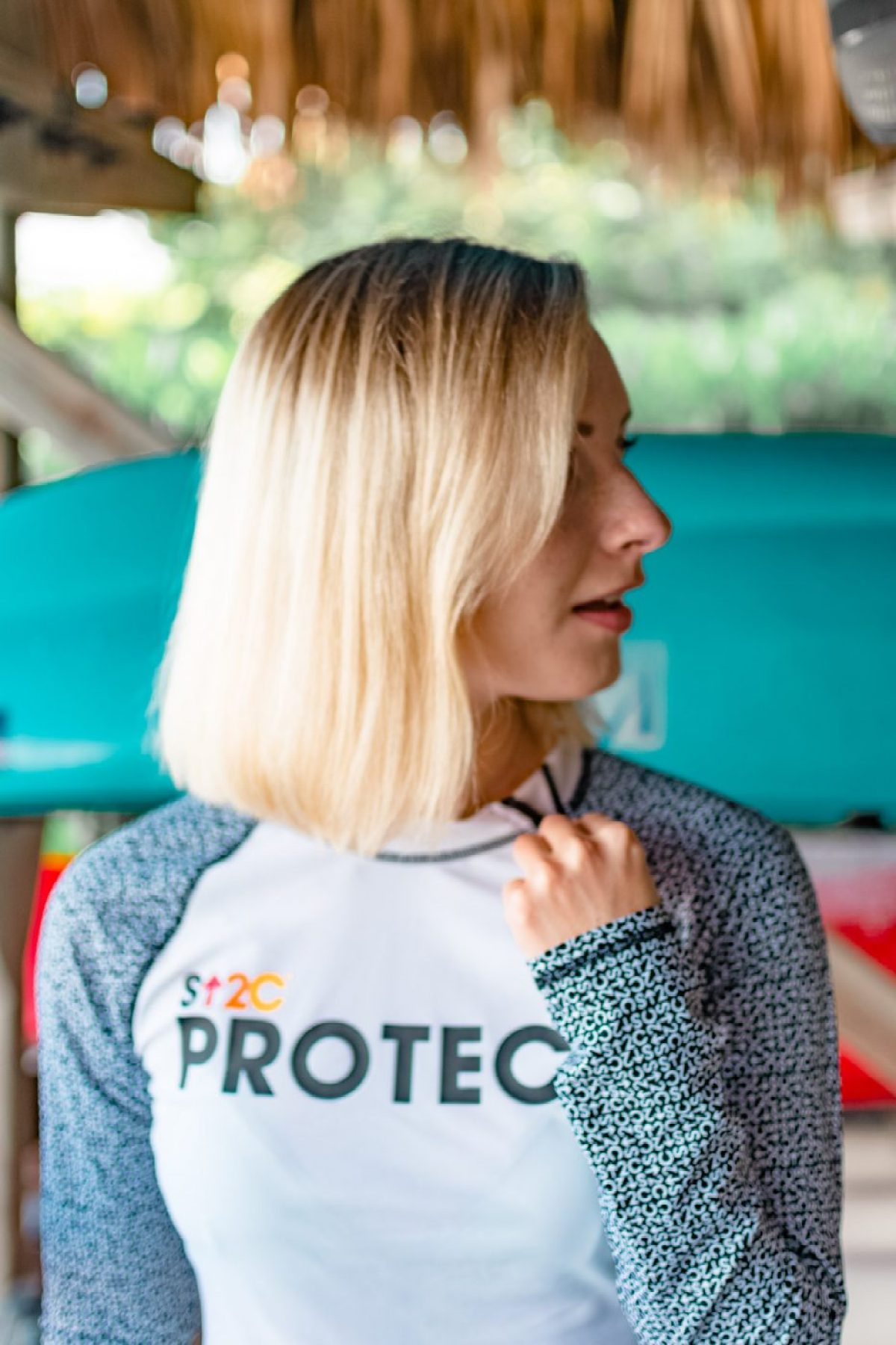 Stand Up 2 Cancer Protect Rashguard from Cabana Life worn by Jenny Bess of Sweet Teal