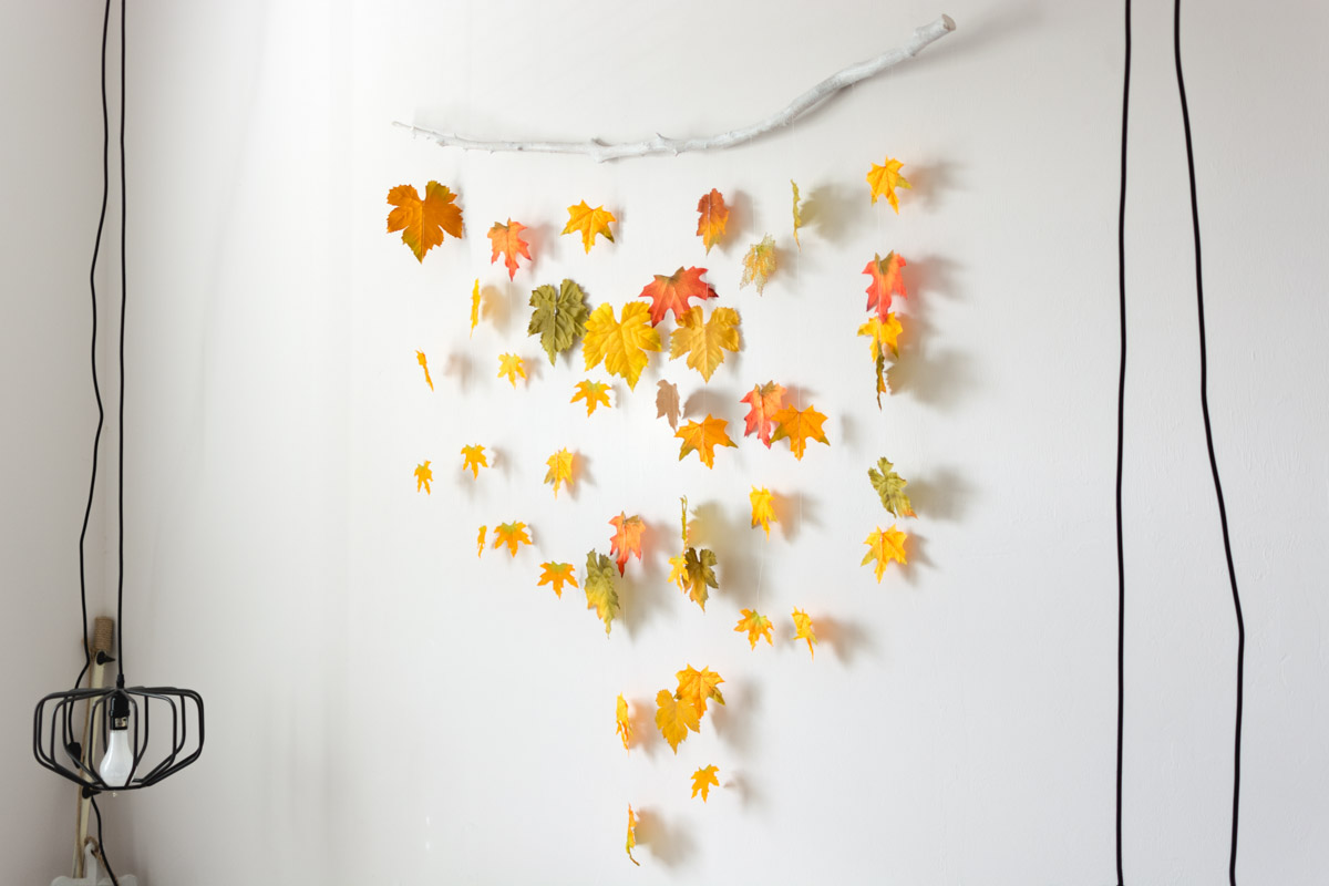 DIY fall decor - leaves on a branch