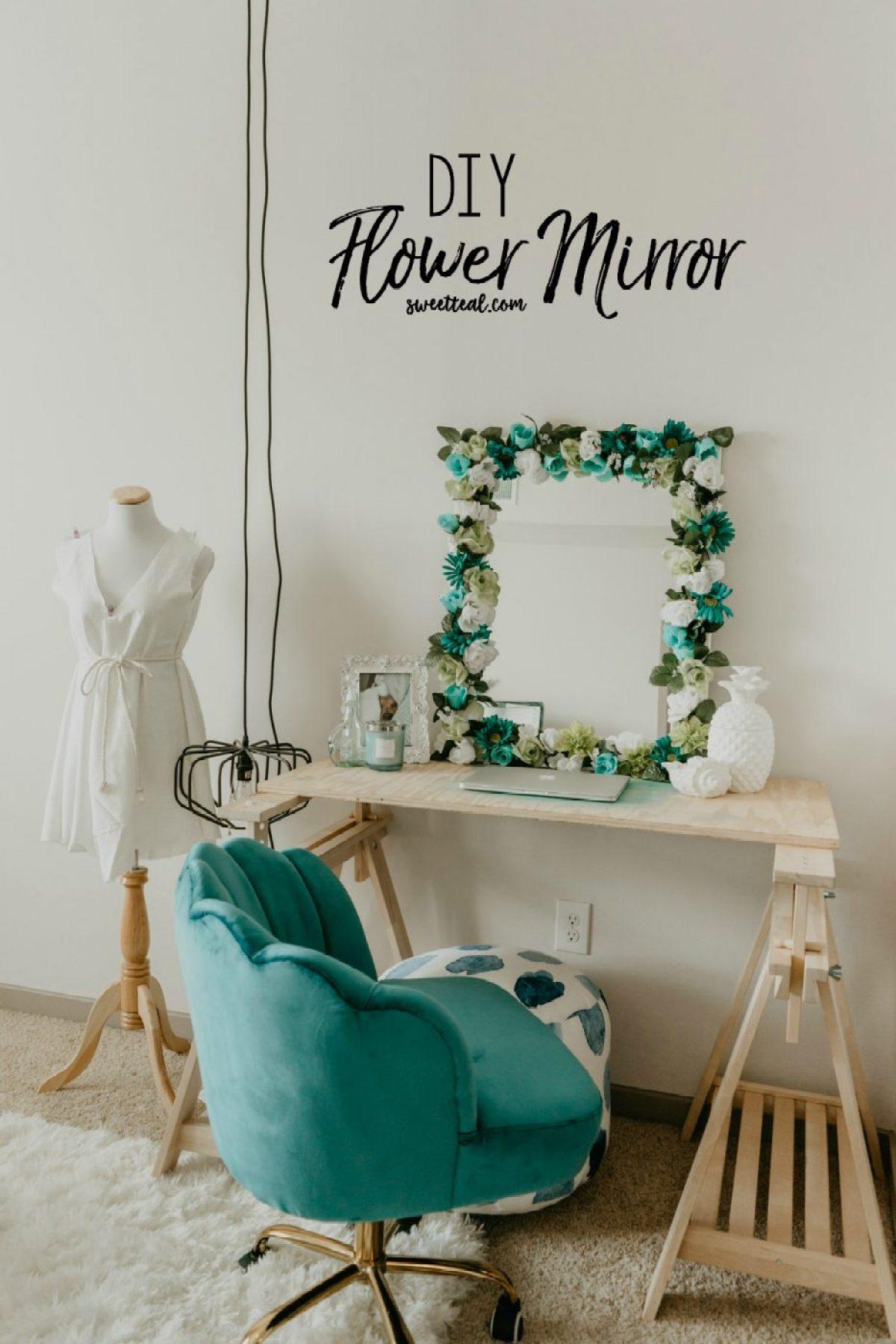 DIY Flower Mirror - Sweet Teal