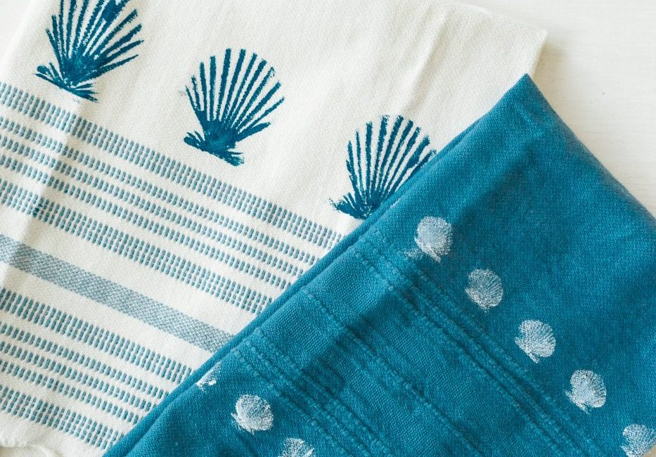 Seashell Stamped Kitchen Towels - Sweet Teal