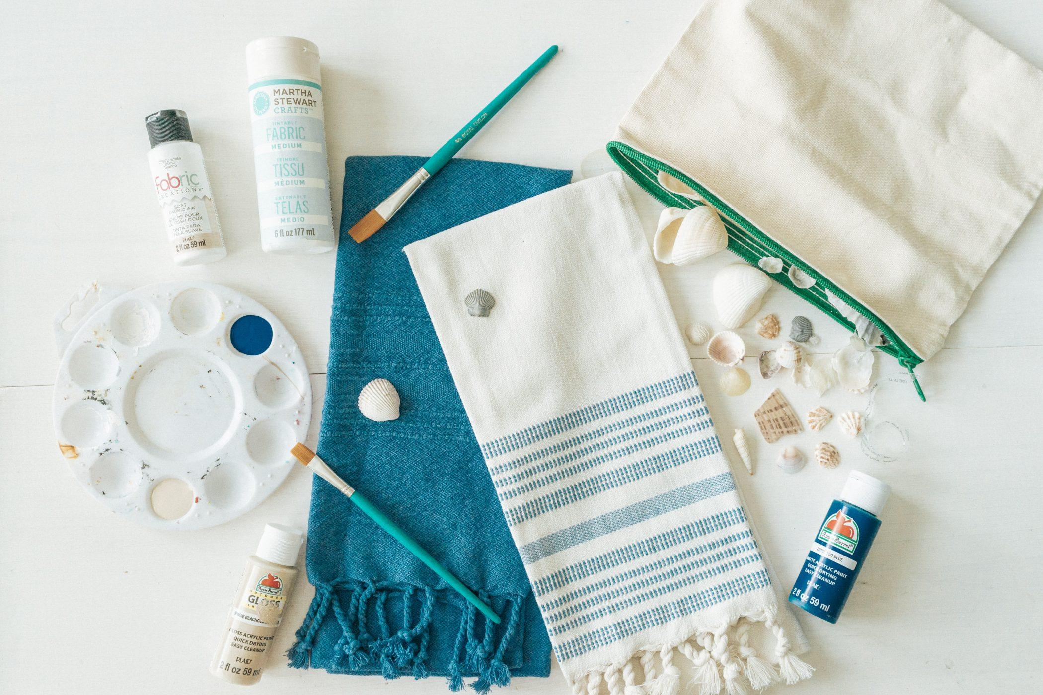 DIY Seashell Stamped Towels