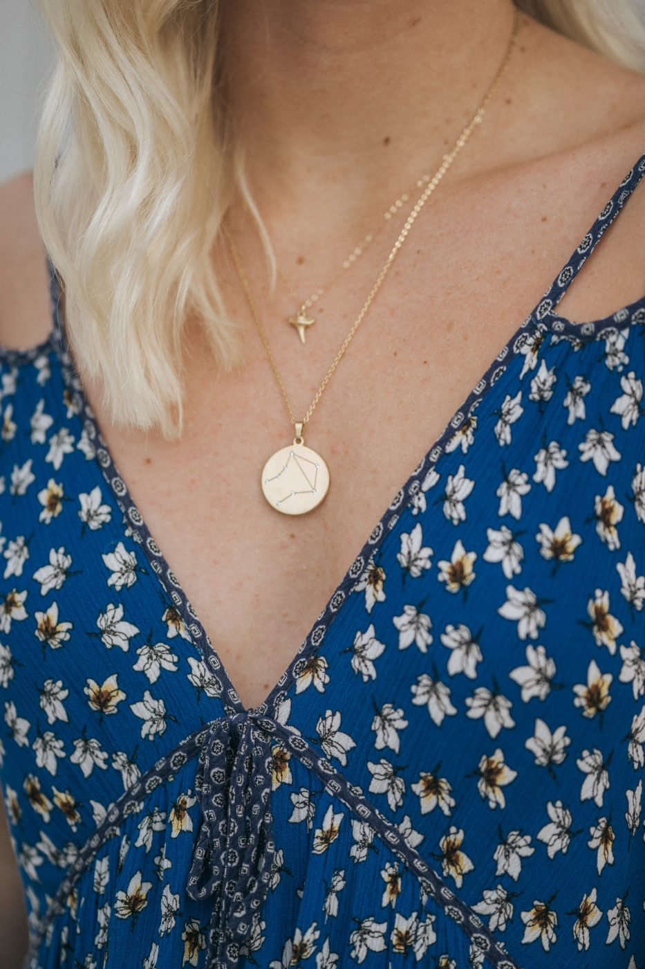summer dress with layered gold necklaces