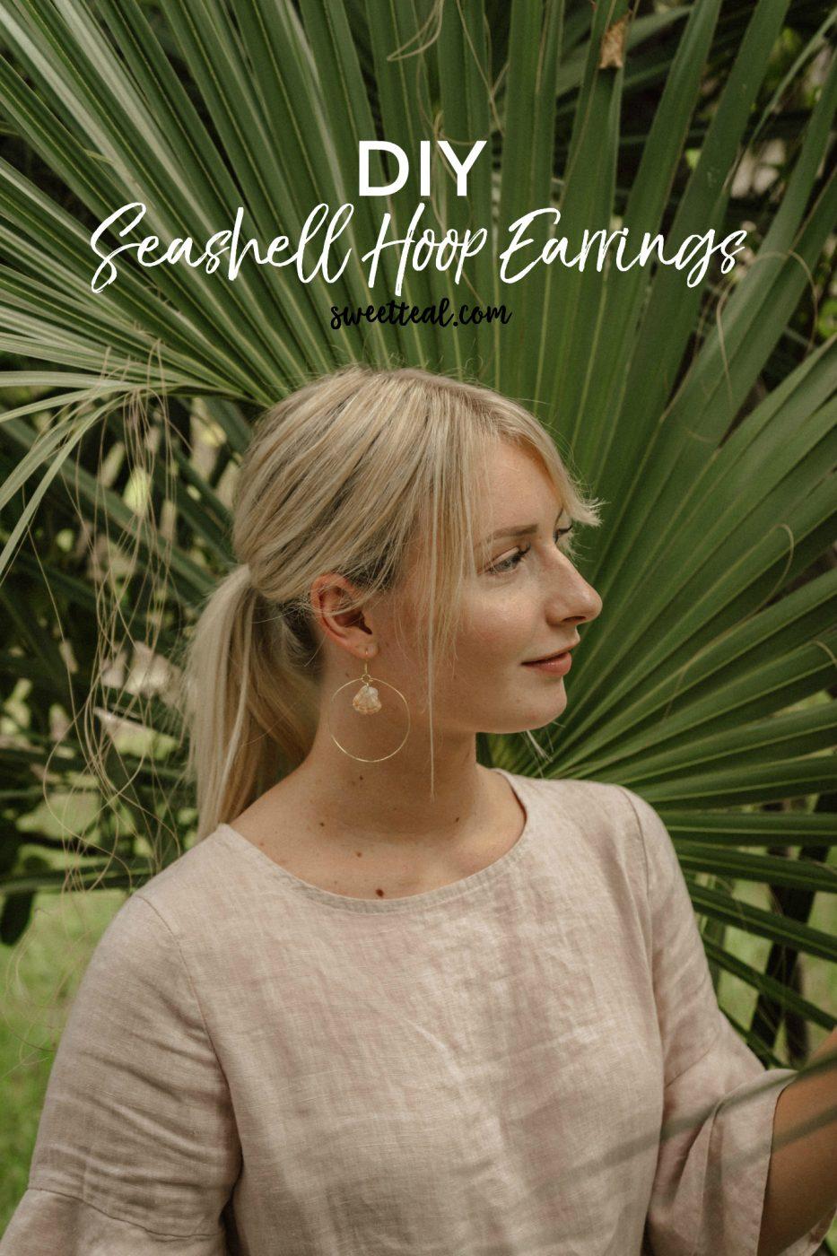 DIY Seashell Hoop Earrings by Jenny at Sweet Teal