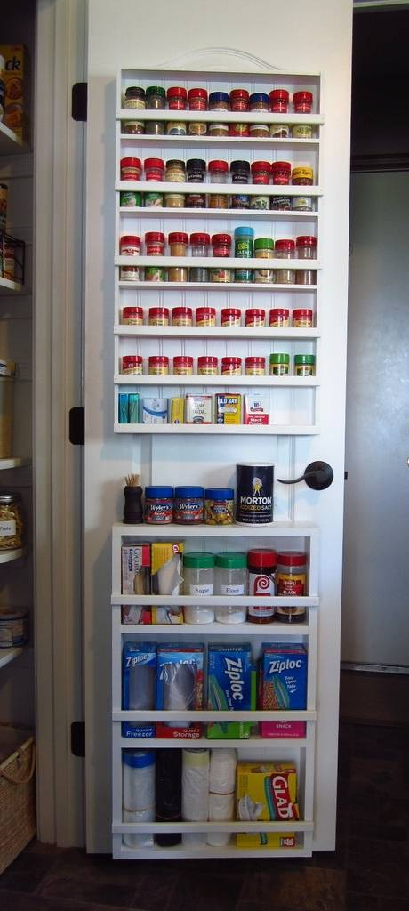 Pantry Organization - Spices On Pantry Door