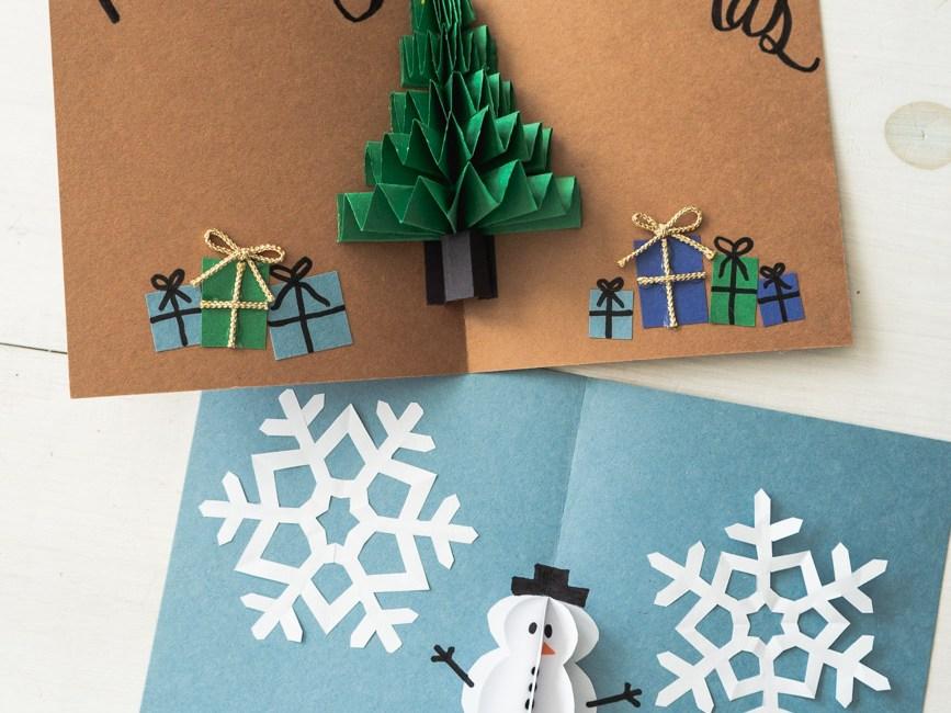 Pop Up Christmas Cards.Diy Pop Up Christmas Cards 2 Ways Tree Card Snowman Card