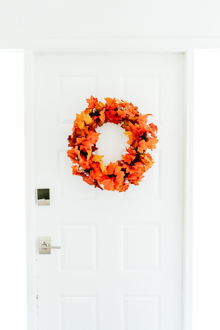 How To Make a Fall Wreath Using Fall Leaves - Leaf Garland