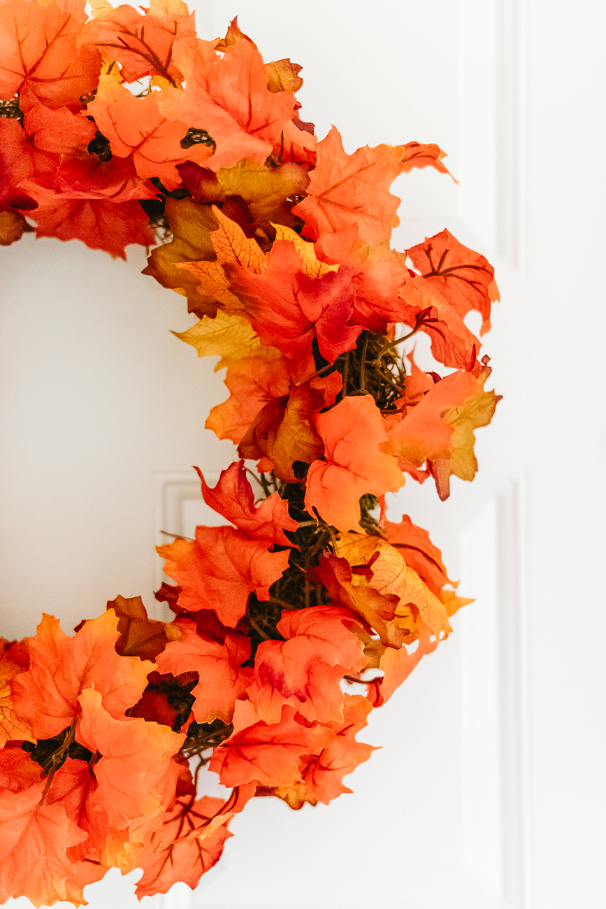 Fall decor on the front door