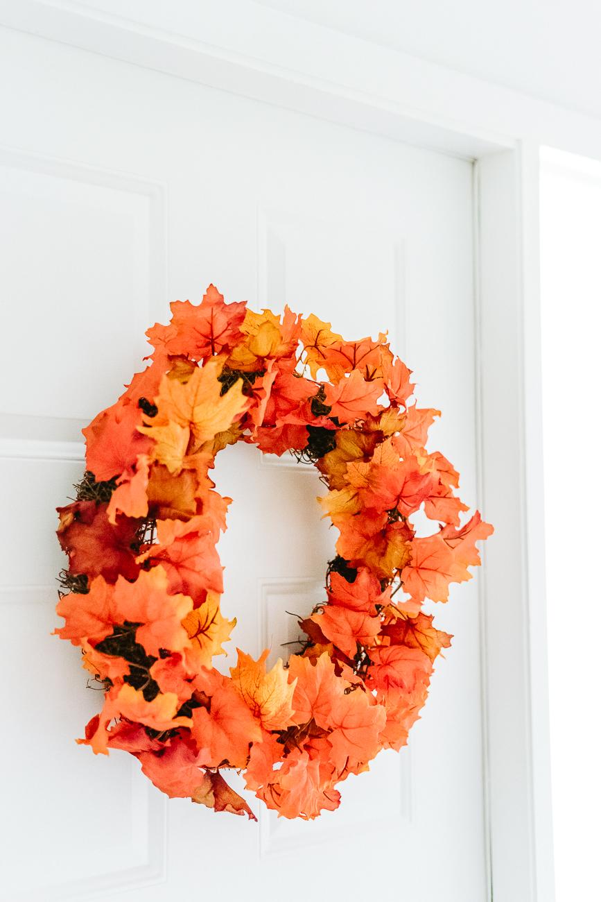 Orange and red leaf wreath