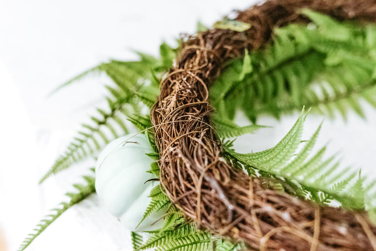 Pumpkin wire wrapped around wreath