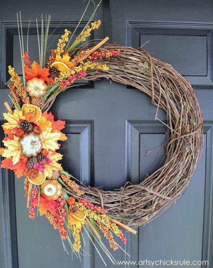 Dried fruit fall wreath