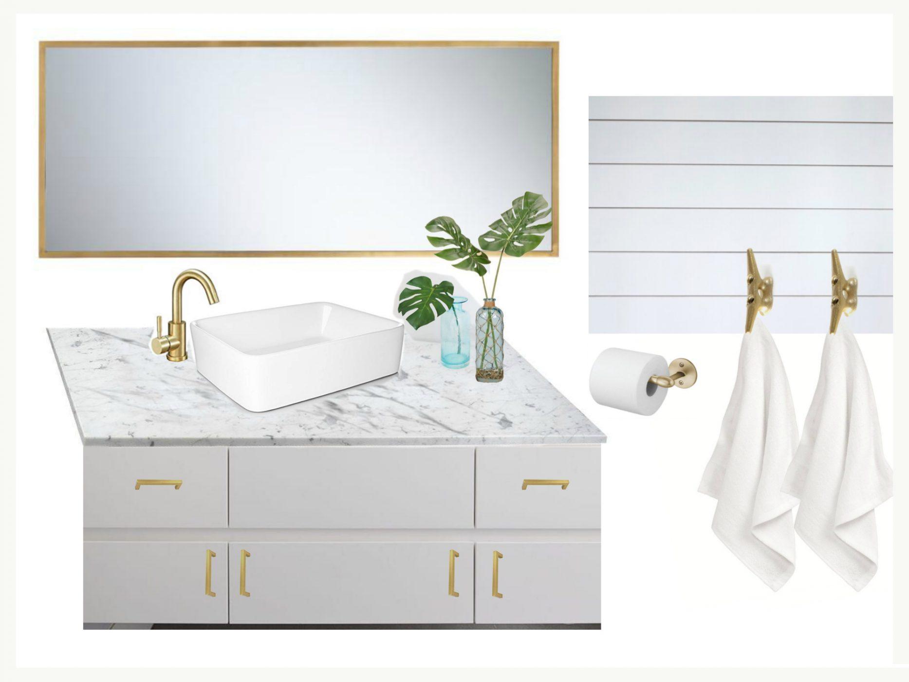 Home Renovation - Gold Nautical Bathroom Room Decorating Ideas