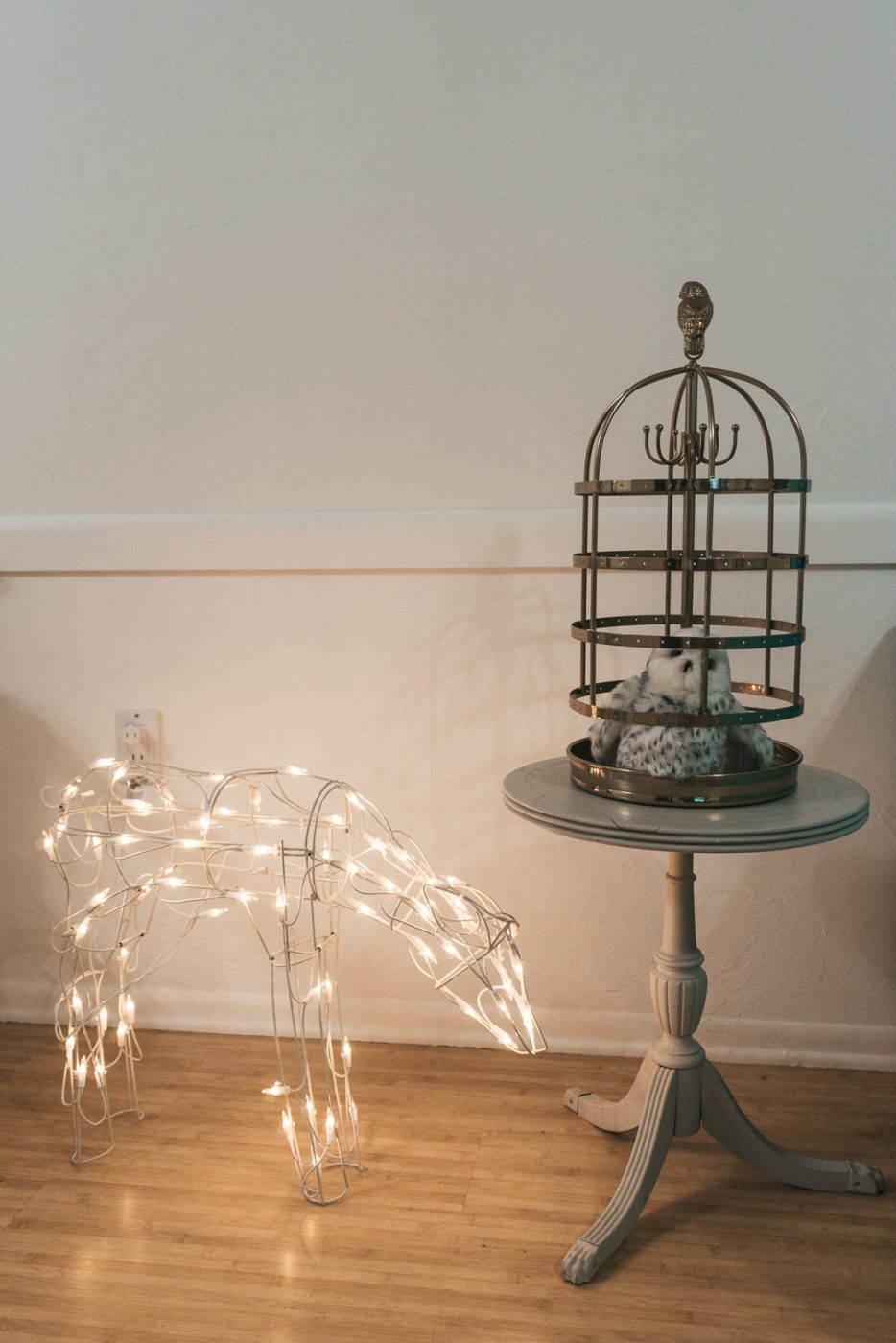 Deer patronus and Hedwig cage for Harry Potter party