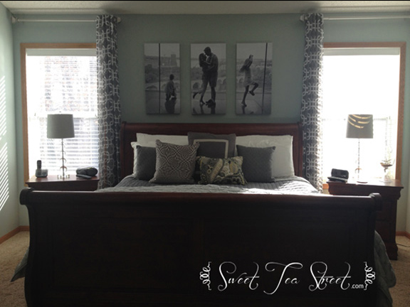 purple walls and brass lamps in with sherwin williams silvermist a beautiful blue gray accented with white slate gray and just a touch of yellow - Slate Bedroom 2015