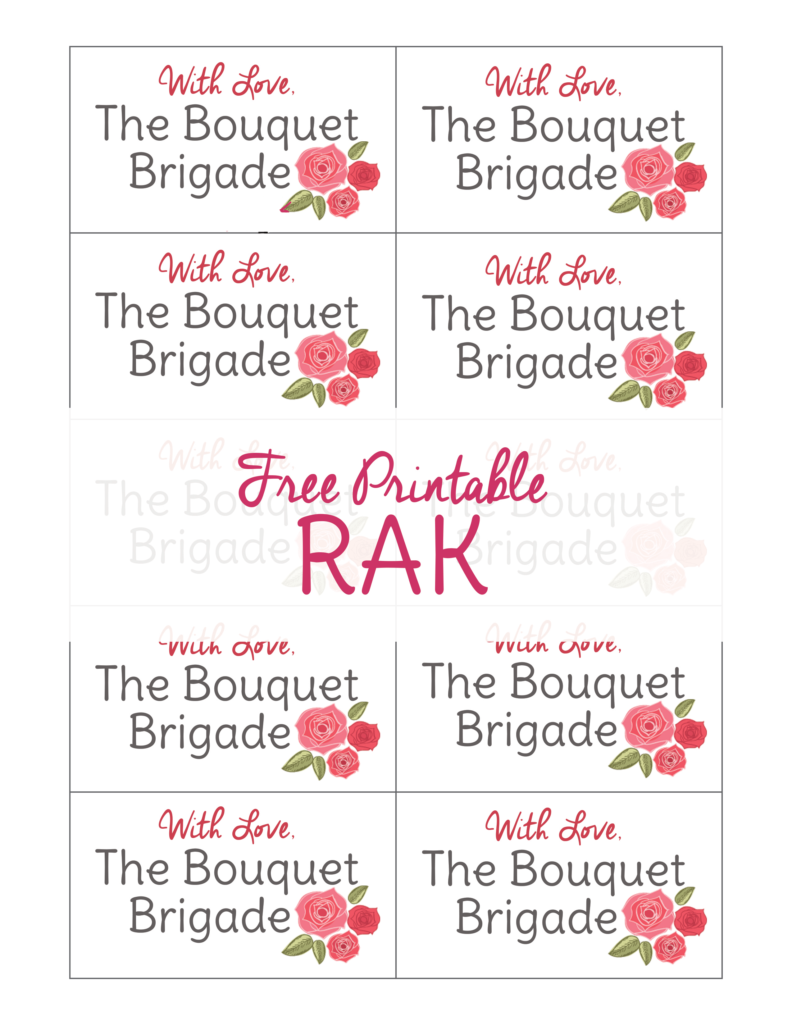 Random Acts Of Kindness Printable The Bouquet Brigade