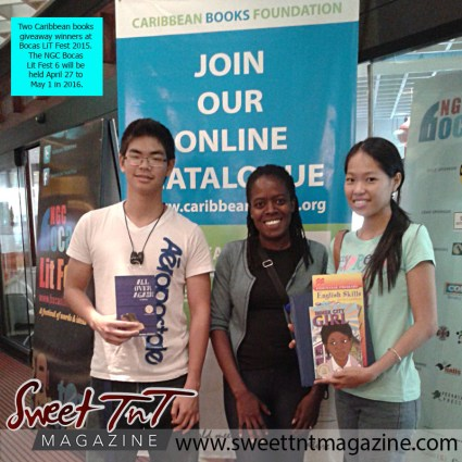 Literature - Caribbean books giveaway winners with Marsha Gomes-McKie at Bocas LiT Fest 2015.