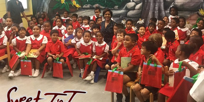 Children read, Stacey Alfonso Mills, visit school, in sweet t&t for Sweet TnT Magazine in Trinidad and Tobago