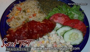 Delectable local foodl by Marissa Armoogam with pelau rice with green pigeon peas, carrots, corn, baked chicken breast, callaloo, macaroni shells salad, fresh salad of tomatoes and lettuce by Wendy Ann alexander in Sweet T&T, Sweet TnT Magazine, Trinidad and Tobago, Trini, vacation, travel