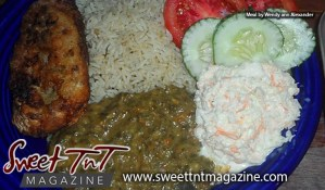 Delectable local food by Marissa Armoogam with white rice, fried fish, callaloo, fresh salad of tomatoes, cucumbers, cabbage cole slaw by Wendy ann Alexander in Sweet T&T, Sweet TnT Magazine, Trinidad and Tobago, Trini, vacation, travel
