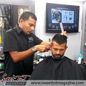 Barber Faisal Mohammed, Master of Fades carefully trims in salon, Sweet T&T, Sweet TnT, Trinidad and Tobago, Trini, vacation, travel