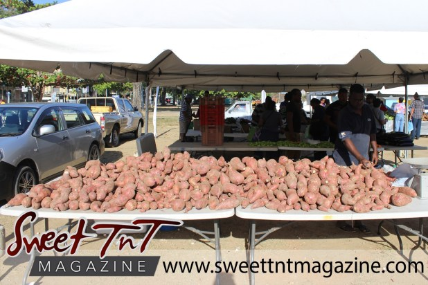 Indian man wearing glasses and black jersey serving sweet potatoes at Farmers' Market at Queen's Park Savannah, Port of Spain in parking lot in Sweet T&T, Sweet TnT, Trinidad and Tobago, Trini, vacation, travel