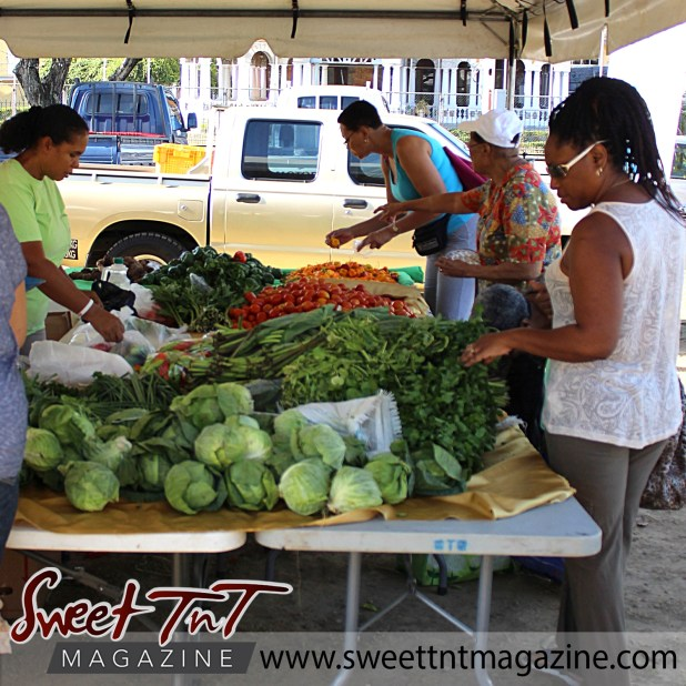 Woman wearing white lace top, grey pants, dark shades, braided hair, looks at cabbages, callaloo bush, elderly woman wearing white hat, flowered blouse points at sweet peppers, stands in front tomatoes at Farmers' Market at Queen's Park Savannah, Port of Spain in parking lot in Sweet T&T, Sweet TnT, Trinidad and Tobago, Trini, vacation, travel