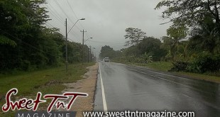 Olton Road in Manzanilla, rainy, wet, lonely, trees, grey sky, for article Folklore in Sweet T&T, Sweet TnT, Trinidad and Tobago, Trini, vacation, travel