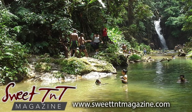 Hikers at Paria waterfalls by Joanna Hayde in Sweet T&T, Sweet TnT, Trinidad and Tobago, Trini, vacation, travel