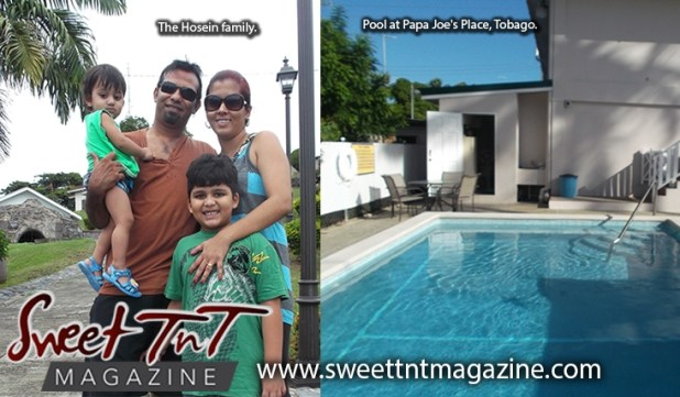 Hosein family at pool at Papa Joe's Place, Tobago, Sweet T&T, Sweet TnT, Trinidad and Tobago, Trini, vacation, travel