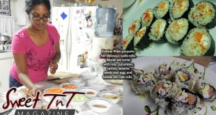 Katrina Khan prepares her delicious sushi rolls, rice cucumber, carrots, sesame seeds, egg, crab rolls, by sister Candida Khan, Sweet T&T, Sweet TnT, Trinidad and Tobago, Trini, vacation, travel