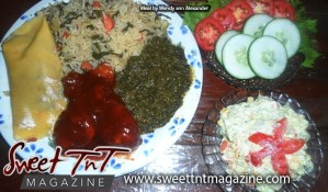 Pastelle, baked chicken, bhaji rice, callaloo, cole slaw, fresh salad by Wendy Ann Alexander for Secret ingredient article in Sweet T&T, Sweet TnT, Trinidad and Tobago, Trini, vacation, travel,