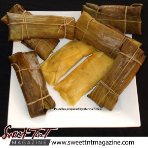Pastelles prepared by Maina Rivas in banana leaves with minced meat steamed cornmeal, Sweet T&T, Sweet TnT, Trinidad and Tobago, Trini, vacation, travel