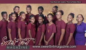 Kezia Reece with students, selfless principal, photo Sheldon Moore, Sweet T&T, Sweet TnT, Trinidad and Tobago, Trini, vacation, travel