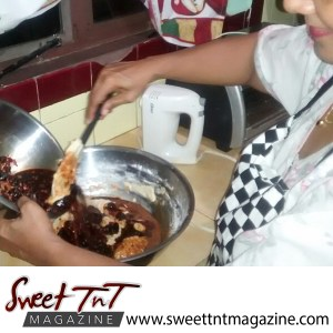 Fruit cake by Radha Ramoutar making cake batter in bowl, Sweet T&T, Sweet TnT, Trinidad and Tobago, Trini, vacation, travel