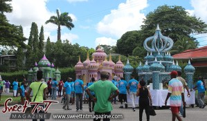 Hosay walk in Sweet T&T, Sweet TnT, Trinidad and Tobago, Trini, Travel, Vacation, Tourist, Hosay, Muslim, Parade, Tomb, Drummers, Funeral Procession, Woodbrook, St James, St Clair, Palm, Dancing the moon, Tadjahs, Moons, Tadjahs, mosques, Hussein, Hassan, tombs, tassa side, two moons, Husayn, Hassan
