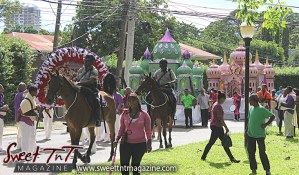 Hosay police on horses in Sweet T&T, Sweet TnT, Trinidad and Tobago, Trini, Travel, Vacation, Tourist, Hosay, Muslim, Parade, Tomb, Drummers, Funeral Procession, Woodbrook, St James, St Clair, Palm, Dancing the moon, Tadjahs, Moons, Tadjahs, mosques, Hussein, Hassan, tombs, tassa side, two moons, Husayn, Hassan