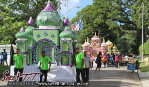 Hosay floats in St James in Sweet T&T, Sweet TnT, Trinidad and Tobago, Trini, Travel, Vacation, Tourist, Hosay, Muslim, Parade, Tomb, Drummers, Funeral Procession, Woodbrook, St James, St Clair, Palm, Dancing the moon, Tadjahs, Moons, Tadjahs, mosques, Hussein, Hassan, tombs, tassa side, two moons, Husayn, Hassan, Men in green