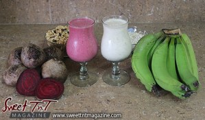 Beetroot and green fig punch or milkshake recipes for health with granola, oats, blood building benefits in Sweet T&T, Sweet TnT, Trinidad and Tobago, Trini, vacation, travel, breakfast