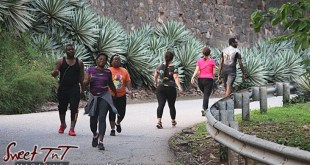 4 women and 2 men walking exercising beautiful scenery on Lady Chancellor Hil Port of Spain exercising for story original outdoor gym in Sweet T&T, Sweet TnT, Trinidad and Tobago, Trini, vacation, travel