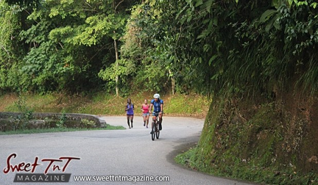 Cyclist two women jogging exercise walking on Lady Chancellor Hill Port of Spain for story original outdoor gym in Sweet T&T, Sweet TnT, Trinidad and Tobago, Trini, vacation, travel