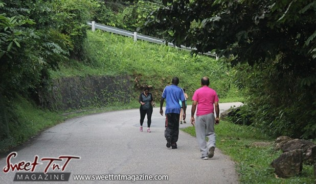 Two men two women exercising on Lady Chancellor Hil Port of Spain for story original outdoor gym in Sweet T&T, Sweet TnT, Trinidad and Tobago, Trini, vacation, travel