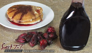 Sorrel or roselle red fruit sorrel pancake syrup in a bottle for Christmas season or health benefits for cholesterol, blood pressure, bladder infections, constipation, maylase, use recipe for good taste and health benefits in in Sweet T&T, Sweet TnT, Trinidad and Tobago, Trini, vacation, travel, breakfast
