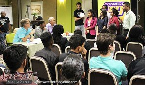 Entrepreneurs listen to judges after pitching their ideas at Launch Rockit business in 54 hours in sweet t&t for Sweet TnT Magazine in Trinidad and Tobago