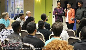 Entrepreneurs pitching ideas to audience at Launch Rockit business in 54 hours in sweet t&t for Sweet TnT Magazine in Trinidad and Tobago