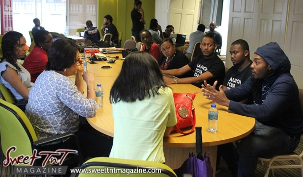 Mentors and presenters listen to young entrepreneur at Launch Rockit main in sweet t&t for Sweet TnT Magazine in Trinidad and Tobago