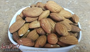 Bowl of almonds for almond milk article in sweet T&T for Sweet TnT Magazine, Culturama Publishing Company, for news in Trinidad, in Port of Spain, Trinidad and Tobago, with positive how to photography.