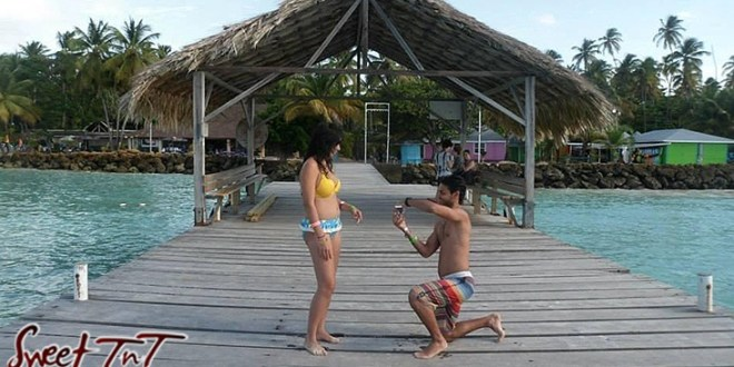 Mark Waldropt proposes to Therese Chung at Pigeon Point Beach in Tobago for Valentine's day article in sweet T&T for Sweet TnT Magazine, Culturama Publishing Company, for news in Trinidad, in Port of Spain, Trinidad and Tobago, with positive how to photography.