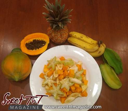 Fruit salad five fingers star fruit main in sweet T&T for Sweet TnT Magazine, Culturama Publishing Company, for news in Trinidad, in Port of Spain, Trinidad and Tobago, with positive how to photography.