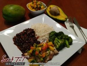 Avocado and mango salsa with lentil peas, rice and broccoli
